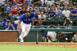 May 22, 2018 - Arlington, TX, U.S. - ARLINGTON, TX - MAY 22: Texas Rangers left fielder Delino DeShields (3) bunts to move a runner during the game between the Texas Rangers and the New York Yankees on May 22, 2018 at Globe Life Park in Arlington, Texas. The Rangers defeat the Yankees 6-4. (Photo by Matthew Pearce/Icon Sportswire) (Credit Image: © Matthew Pearce/Icon SMI via ZUMA Press)