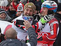 Alpint<br /> FIS World Cup<br /> 24.01.2016<br /> Foto: Gepa/Digitalsport<br /> NORWAY ONLY<br /> <br /> KITZBUEHEL,AUSTRIA,24.JAN.16 - ALPINE SKIING - FIS World Cup, slalom, men, award ceremony. Image shows the emotion of Marcel Hirscher (AUT) with Henrik Kristoffersen (NOR).