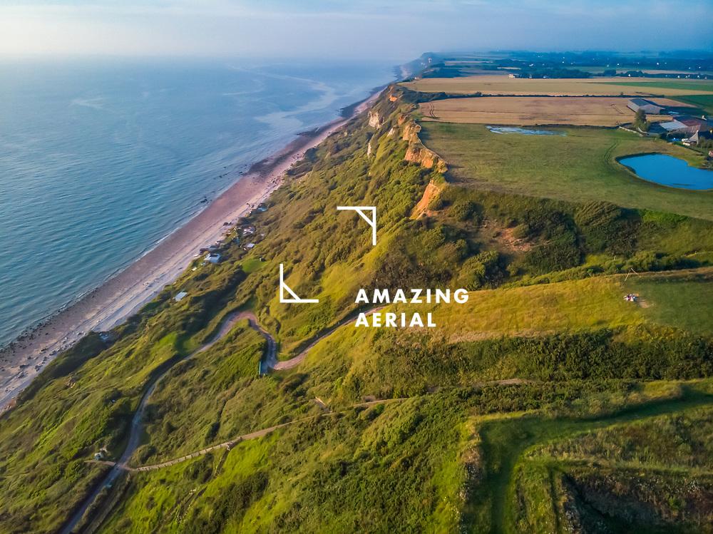 Aerial view of Octeville Coastline above old Nato Base, Normandy, France.