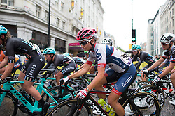 Christina Perchtold (AUT) of Cervélo-Bigla Cycling Team leans into a corner in the third lap of the Prudential Ride London Classique - a 66 km road race, starting and finishing in London on July 29, 2017, in London, United Kingdom. (Photo by Balint Hamvas/Velofocus.com)