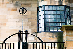 Detail of art nouveau architecture of famous Glasgow School of Art designed by Charles Rennie Mackintosh in Glasgow Scotland