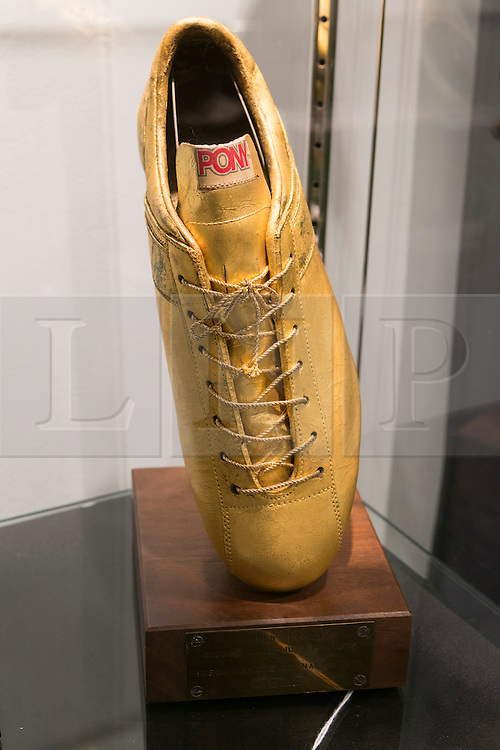 © Licensed to London News Pictures. 01/06/2016. July 14, 1976, 1,250th Goal Tribute Trophy. Est £2,100-£2,800 from the <br /> Pele: The Collection with over 1,500 items of memorabilia owned by Pele for sale on later in June. London, UK. Photo credit: Ray Tang/LNP