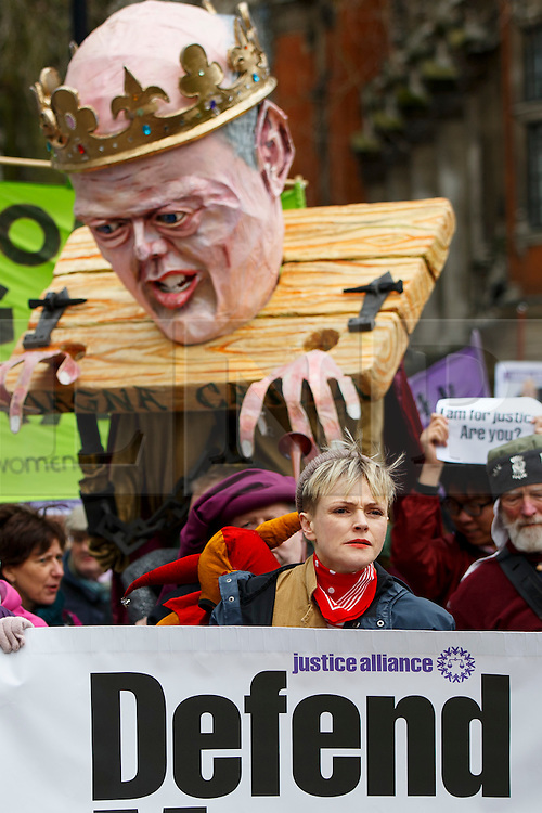 © Licensed to London News Pictures. 23/02/2015. LONDON, UK. Maxine Peake, who plays 'QC Martha Costello' in BBC1's 'Silk' leads a rally to the parliament to mark Magna Carta's 800th anniversary and protest against the Global Law Summit and Chris Grayling, Justice Secretary in central London on Monday, 23 February 2015. Photo credit : Tolga Akmen/LNP
