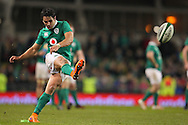 Tiernan O'Halloran of Ireland takes a penalty kick during the 2016 Guinness Series  autumn international rugby match, Ireland v Canada at the Aviva Stadium in Dublin, Ireland on Saturday 12th November 2016.<br /> pic by  John Halas, Andrew Orchard sports photography.