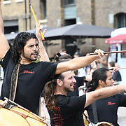 King Cross, London, UK. 17th July 2018. A taste of all-male Argentinian percussive dance and music sensation Che Malamboat Granary Square ahead of the grand opening show on 18 – 22 July Peacock Theatre , London, UK