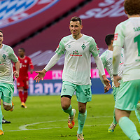 21.11.2020, Allianz Arena, Muenchen, GER,  FC Bayern Muenchen SV Werder Bremen <br /> <br /> <br />  im Bild Jubel nach dem Tor zum 0-1 durch Maximilian Eggestein (SV Werder Bremen #35) mit Kevin Moehwald (SV Werder Bremen #6) Josh Sargent (SV Werder Bremen #19) <br /> <br /> Foto © nordphoto / Straubmeier / Pool/ <br /> <br /> DFL regulations prohibit any use of photographs as image sequences and / or quasi-video.