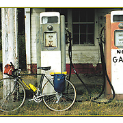 """Bicycling Postcard - No Gas. Suitable for use on a 4.25"""" x 6"""" printed postcard."""