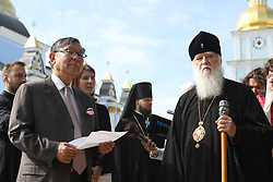 April 27, 2018 - Kyiv, Ukraine - Head of the Ukrainian Orthodox Church of the Kyiv Patriarchate, Patriarch of Kyiv and All Rus-Ukraine Filaret (R) and Ambassador Extraordinary and Plenipotentiary of Japan to Ukraine Shigeki Sumi (L) attend a ceremony to plant sakuras on the premises of the St. Michael's Golden-Domed Monastery in Kyiv, capital of Ukraine, April 27, 2018. Ukrinform. (Credit Image: © Danil Shamkin/Ukrinform via ZUMA Wire)