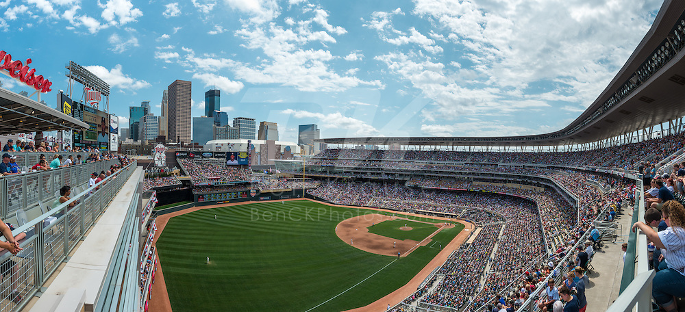 [Note: This panoramic photo was created by combining multiple images during post-processing.] A general view of Target Field on July 5, 2014 in Minneapolis, Minnesota.  Photo by Ben Krause