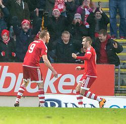 Aberdeen's Adam Rooney (9) celebrates after scoring their fourth goal. <br /> St Johnstone 3 v 4Aberdeen, SPFL Ladbrokes Premiership played 6/2/2016 at McDiarmid Park, Perth.