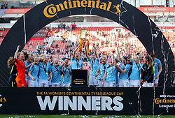 Manchester City's Steph Houghton lifts the trophy after her side win the the FA Women's Continental League Cup final at Bramall Lane, Sheffield.