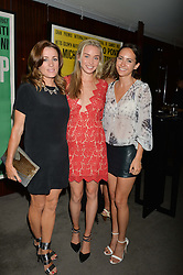 The UK Premier of Johnnie Walker Blue Label's 'Gentleman's Wager' - a short film starring Jude Law was held at The Bulgari Hotel & Residences, 171 Knightsbridge, London on 22nd July 2014.<br /> Picture Shows:-Left to right, NATALIE PINKHAM, NOELLE RENO and LAVINIA BRENNAN.
