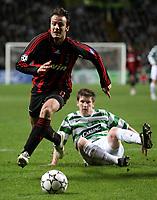 Photo: Paul Thomas.<br /> Glasgow Celtic v AC Milan. UEFA Champions League. Last 16, 1st Leg. 20/02/2007.<br /> <br /> Alberto Gilaedino (L) of Milan gets past Mark Wilson.