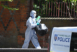 © Licensed to London News Pictures. 22/06/2020. Reading, UK. Police forensics carrying evidence at Forbury Gardens in Reading town centre where three people were stabbed to death in a terrorist attack. Several other people were injured in the attack which was carried out by Libyan asylum seeker Khairi Saadallah, who is currently in custody. . Photo credit: Ben Cawthra/LNP