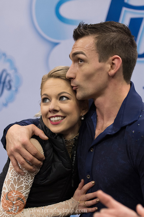 January 4, 2018; San Jose, CA, USA; Alexa Scimeca-Knierim and Christopher Knierim hug in the kiss and cry after skating in the pairs short program during the 2018 U.S. Figure Skating Championships at SAP Center.
