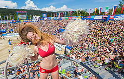 01-08-2014 AUT: FIVB Grandslam Volleybal, Klagenfurt<br /> a Dancer on the Center Court at the women's Quaterfinal Match of the A1 Beachvolleyball Grand Slam<br /> ***NETHERLANDS ONLY***