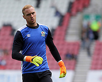 Blackburn Rovers' Jason Steele during the pre-match warm-up <br /> <br /> Photographer David Shipman/CameraSport<br /> <br /> Football - The EFL Sky Bet Championship - Wigan Athletic v Blackburn Rovers - Saturday 13th August 2016 - DW Stadium - Wigan<br /> <br /> World Copyright © 2016 CameraSport. All rights reserved. 43 Linden Ave. Countesthorpe. Leicester. England. LE8 5PG - Tel: +44 (0) 116 277 4147 - admin@camerasport.com - www.camerasport.com