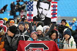 February 14, 2018 - PyeongChang, South Korea - Fans at Snowboard Men's Halfpipe Final at Phoenix Snow Park during the 2018 Pyeongchang Winter Olympic Games. (Credit Image: © Scott Mc Kiernan via ZUMA Wire)