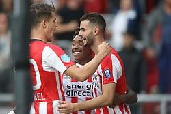 (L-R) Marco van Ginkel of PSV, Steven Bergwijn of PSV, Gaston Pereiro of PSV during the Dutch Eredivisie match between PSV Eindhoven and AZ Alkmaar at the Phillips stadium on August 12, 2017 in Eindhoven, The Netherlands