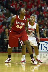 27 March 2011: Quistelle Williams and Shala Jackson struggle for position on the lane during a WNIT (Women's National Invitational Tournament Women's basketball sweet 16 game between the Arkansas Razorbacks and the Illinois State Redbirds at Redbird Arena in Normal Illinois.