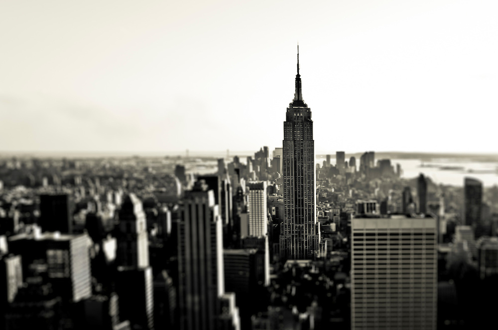 Panorama on South Manhattan with the Empire State Building seen from the top of the Rock, Manhattan, New York.
