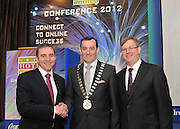 6-3-2012: IHF-KILKENNY:  Michael Vaughan, (Vaughan's Lodge Hotel, Lahinch, County Clare) )who was elected President of the Irish Hotels Federation in Kilkenny on Tuesday is congratulated by outgoing president Paul Gallagher, left and Tim Fenn, CEO, IHF after his election..Picture by Don MacMonagle..PR free Pic from IHF-