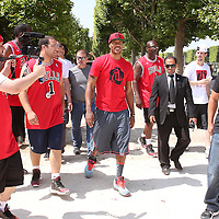 12 July 2013: Chicago Bulls superstar Derrick Rose is seen on a playground near the Eiffel Tower during Adidas' D Rose tour,  in Paris, France.