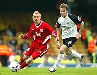 Photo: Chris Ratcliffe.<br />Southend United v Bristol City. Coca Cola League 1. 06/05/2006.<br />Dave Cotterill (L) of Bristol City is chased down by Mark Gower of Southend United.