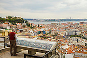Lisbon seen from Senhora do Monte lookout. Saint George's Castle is spoted on the left of the image on the top of one of Lisbon's seven hills.