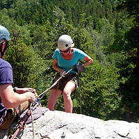 North America, USA, Alaska, Skagway. Klondike Rock Climbing and Rapelling, an award winning shore excursion popular with adventurous visitors in Skagway, Alaska.