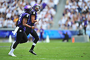 FORT WORTH, TX - SEPTEMBER 13:  Josh Doctson #9 and Trevone Boykin #2 of the TCU Horned Frogs celebrate after a touchdown against the Minnesota Golden Gophers on September 13, 2014 at Amon G. Carter Stadium in Fort Worth, Texas.  (Photo by Cooper Neill/Getty Images) *** Local Caption *** Josh Doctson; Trevone Boykin