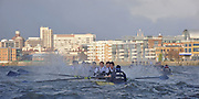 """Putney, GREAT BRITAIN,   Oxfords' """"Perky""""  foreground  on the Surrey station, rowing through the rough water bow, Basil Gruter, Alec Dent, Ben Ellison, Ben Snodin, Ben Myers, Boris Le Feber, Sjoerd Hamburger, Charlie Burkitt, cox. Jack Carlson, during the 2009 Varsity/Oxford University Trial Eights, raced over the championship course. Putney to Mortlake, Thursday  17/12/2009  [Mandatory Credit, Peter Spurrier/Intersport-images Rough, Choppy, Water, Conditions. © Peter SPURRIER, Atmospheric, Rowing"""