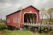 USA, Oregon, Scio, Shimanek Bridge. Digital Composite, HDR