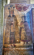 Pictures & images of the interior medieval frescoes. The Eastern Orthodox Georgian Svetitskhoveli Cathedral (Cathedral of the Living Pillar) , Mtskheta, Georgia (country). A UNESCO World Heritage Site.<br /> <br /> Currently the second largest church building in Georgia, Svetitskhoveli Cathedral is a masterpiece of Early Medieval architecture completed in 1029 by Georgian architect Arsukisdze on an earlier site dating back toi the 4th century. .<br /> <br /> Visit our MEDIEVAL PHOTO COLLECTIONS for more   photos  to download or buy as prints https://funkystock.photoshelter.com/gallery-collection/Medieval-Middle-Ages-Historic-Places-Arcaeological-Sites-Pictures-Images-of/C0000B5ZA54_WD0s<br /> <br /> Visit our REPUBLIC of GEORGIA HISTORIC PLACES PHOTO COLLECTIONS for more photos to browse, download or buy as wall art prints https://funkystock.photoshelter.com/gallery-collection/Pictures-Images-of-Georgia-Country-Historic-Landmark-Places-Museum-Antiquities/C0000c1oD9eVkh9c
