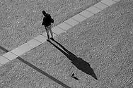France. Paris Pedestrians shadows on the Parvis de Beaubourg / la foule sur le parvis de Beaubourg