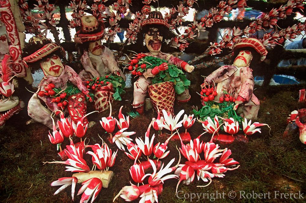 MEXICO, OAXACA, FESTIVALS Radish Festival display
