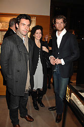 Left to right, ELLIOT McDONALD, MOLLIE DENT-BROCKLEHURST and GARY WATERSTONE at a reception to launch the 2007 Louis Vuitton Christmas windows in collaboration with Central Saint Martins College of Art & Design held at 17-18 New Bond Street, London W1 on 7th November 2007.<br />
