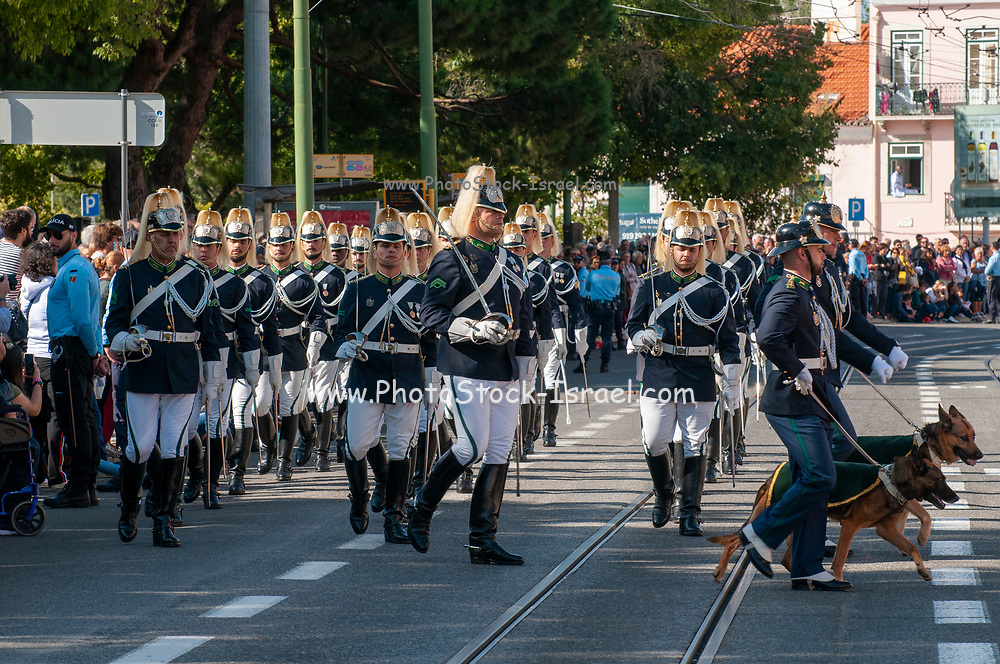Members of the Portuguese National Guard's brass band take part in the ceremony of Changing the Guard at the Belem palace in Lisbon, Portugal