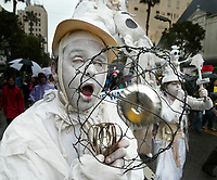 3/19/05-HOLLYWOOD- Members of the Butoh theatre style group Corpus Delicti  march in protest of the war in Iraq Saturday in Hollywood. The date  coincides with the second anniversary of the start of the war. Several thousand marched on Hollywood Blvd and other streets, winding up in front of the Chinese Theatre for a rally. David Sprague/Daily News