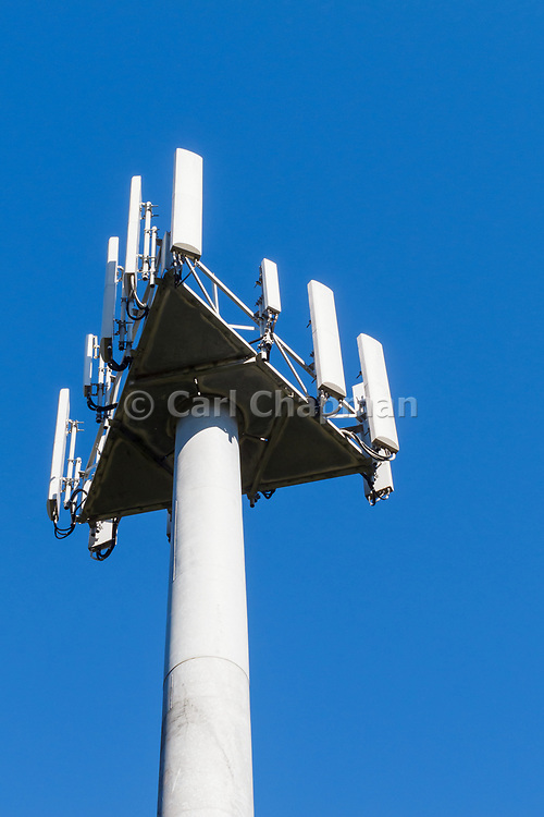 3 sector cellular telecom communications panel antenna array for the mobile telephone system on a cellsite pole tower. <br /> <br /> Editions:- Open Edition Print / Stock Image