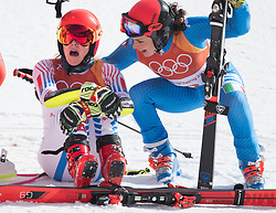 February 15, 2018 - Pyeongchang, South Korea - MIKAELA SHIFFRiN of the United States, left, is congratulated by bronze medalist FEDERICA BRIGNONE of Italy after Shiffren won gold in the Womens Giant Slalom event Thursday, February 15, 2018 at the Yongpyang Alpine Center at the Pyeongchang Winter Olympic Games.  Photo by Mark Reis, ZUMA Press/The Gazette (Credit Image: © Mark Reis via ZUMA Wire)