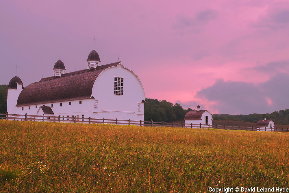D. H. Day Barn From West, Sleeping Bear Dunes National Lakeshore, West Coast, Michigan, Summer fields, green pastures, stormy sunset, late sun, dark skies