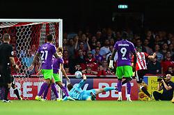 Henrik Dalsgaard of Brentford hits the post - Mandatory by-line: Dougie Allward/JMP - 15/08/2017 - FOOTBALL - Griffin Park - Brentford, England - Brentford v Bristol City - Sky Bet Championship
