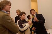Mark Getty, son (  ?) , and  Gerard Faggionato, Wayne Thiebaud opening, Faggionato Fine Arts, Albermarle St. 10 April 2003. © Copyright Photograph by Dafydd Jones 66 Stockwell Park Rd. London SW9 0DA Tel 020 7733 0108 www.dafjones.com