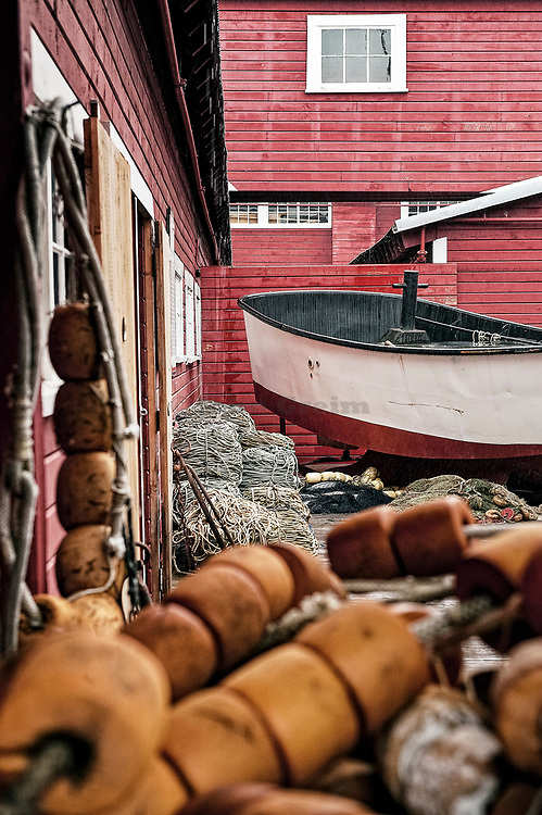 Fishing boats and equipment displayed at Icy Straight Point historic cannery, Hoonah, AK, Alaska, USA