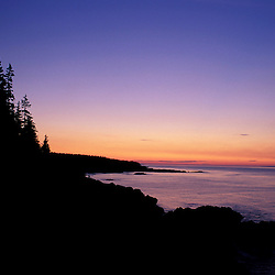 """Cutler, ME. The """"Bold Coast"""" - Bay of Fundy.  View from the Coastal Trail at sunrise.  Maine Public Reserve Land."""