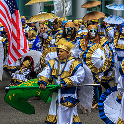 Philadelphia, PA, USA - January 1, 2016: Mummers Parade in full costume in Philadelphia.