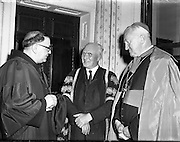 Franciscan Minister General Conferring of Honorary Degrees at Iveagh House.President of UCC with Franciscan Minister General.11/04/1957