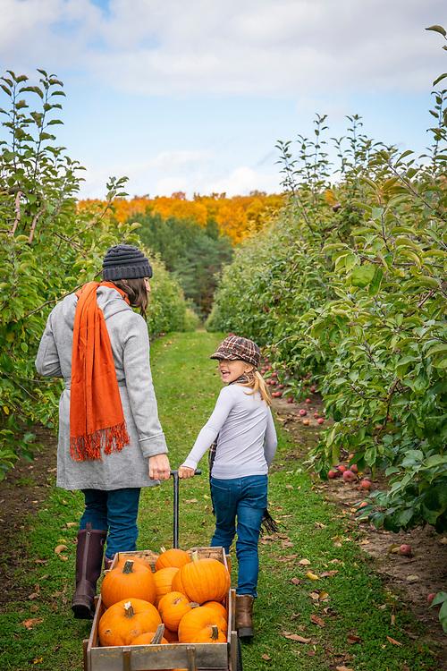 Children's activities during a fall visit to Knaebe's Mmmunchy Krunchy Apple Farm near Rogers City, Michigan.