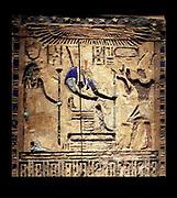 Darius dressed as Pharaoh of Egypt.  This wooden door shows Darius 1 (521-486) dressed as pharaoh on the right.